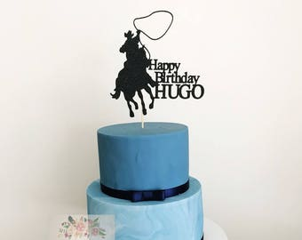 Cowboy Acrylic Cake Topper Western Decor Rodeo Ranch Horse Party