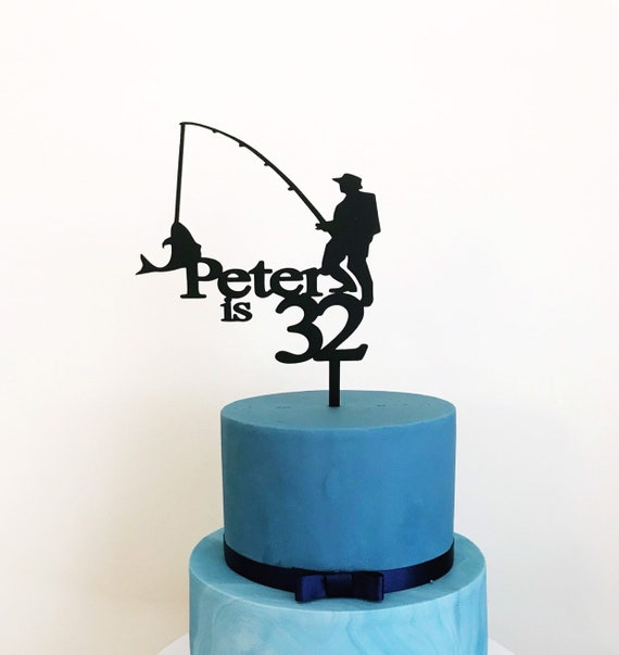 Pleasant Fishing Cake Topper Fish Cake Topper Fishing Topper Fly Etsy Funny Birthday Cards Online Eattedamsfinfo