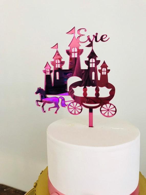 Peachy Princess Castle Cake Topper Castle Cake Topper Princess Cake Etsy Funny Birthday Cards Online Barepcheapnameinfo