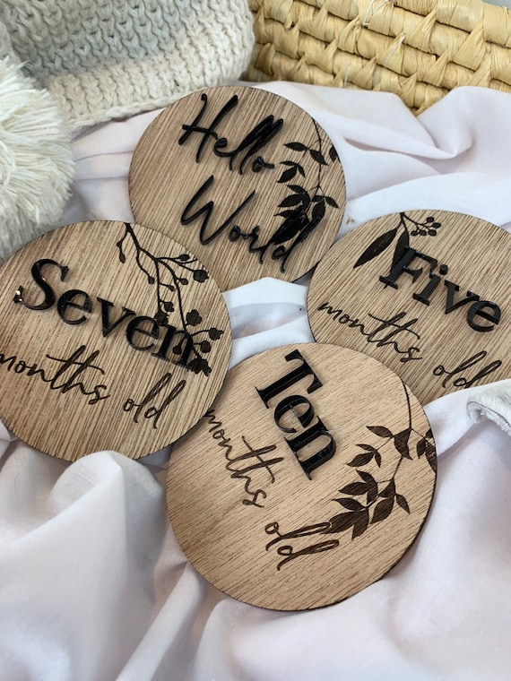 Newborn Baby Milestone CardsBaby Milestone cardsmilestone cardswood baby milestone cardswood milestone cardswood name plaqueround sign
