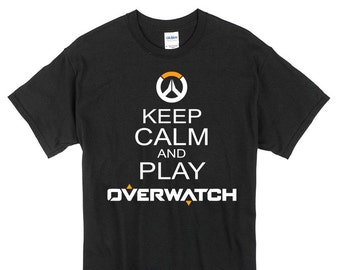 Keep Calm and Play Overwatch T-Shirt black or white 100% cotton  gift present game tee