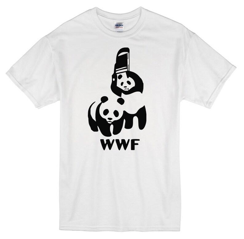 0e23226a32289b WWF wrestling pandas T-Shirt white 100% cotton wwe funny