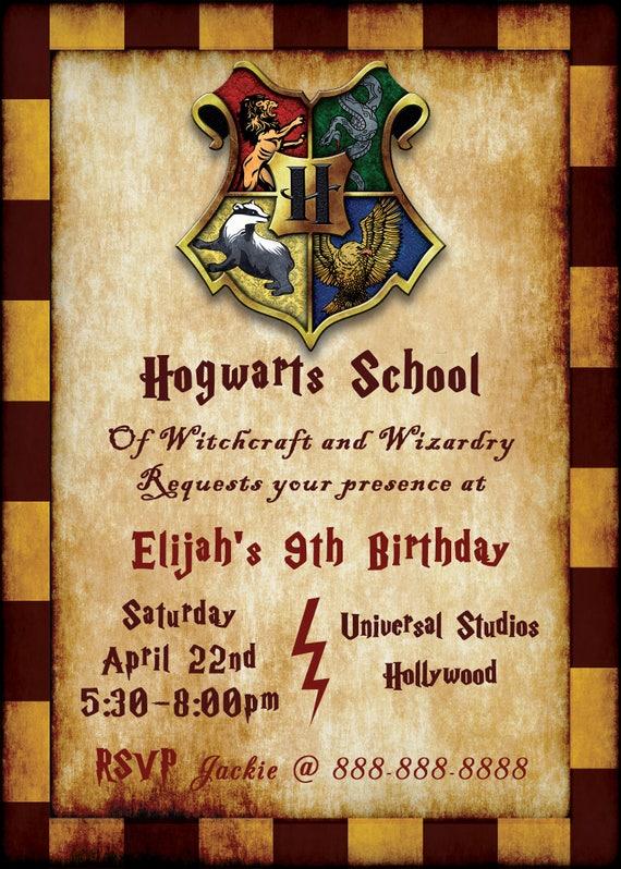 Harry Potter Birthday Invitation Customized Digital Download