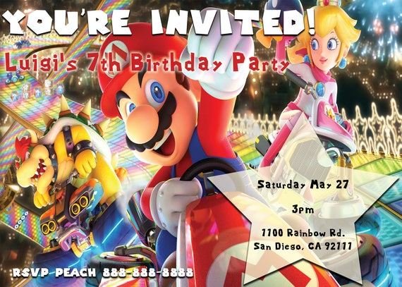 Items similar to Mario Kart 8 Deluxe Birthday Invitation - Personalized on Etsy