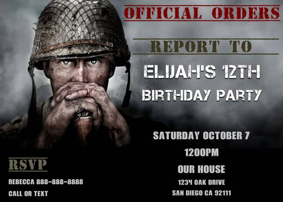 Call of duty wwii birthday invitation personalized etsy image 0 filmwisefo