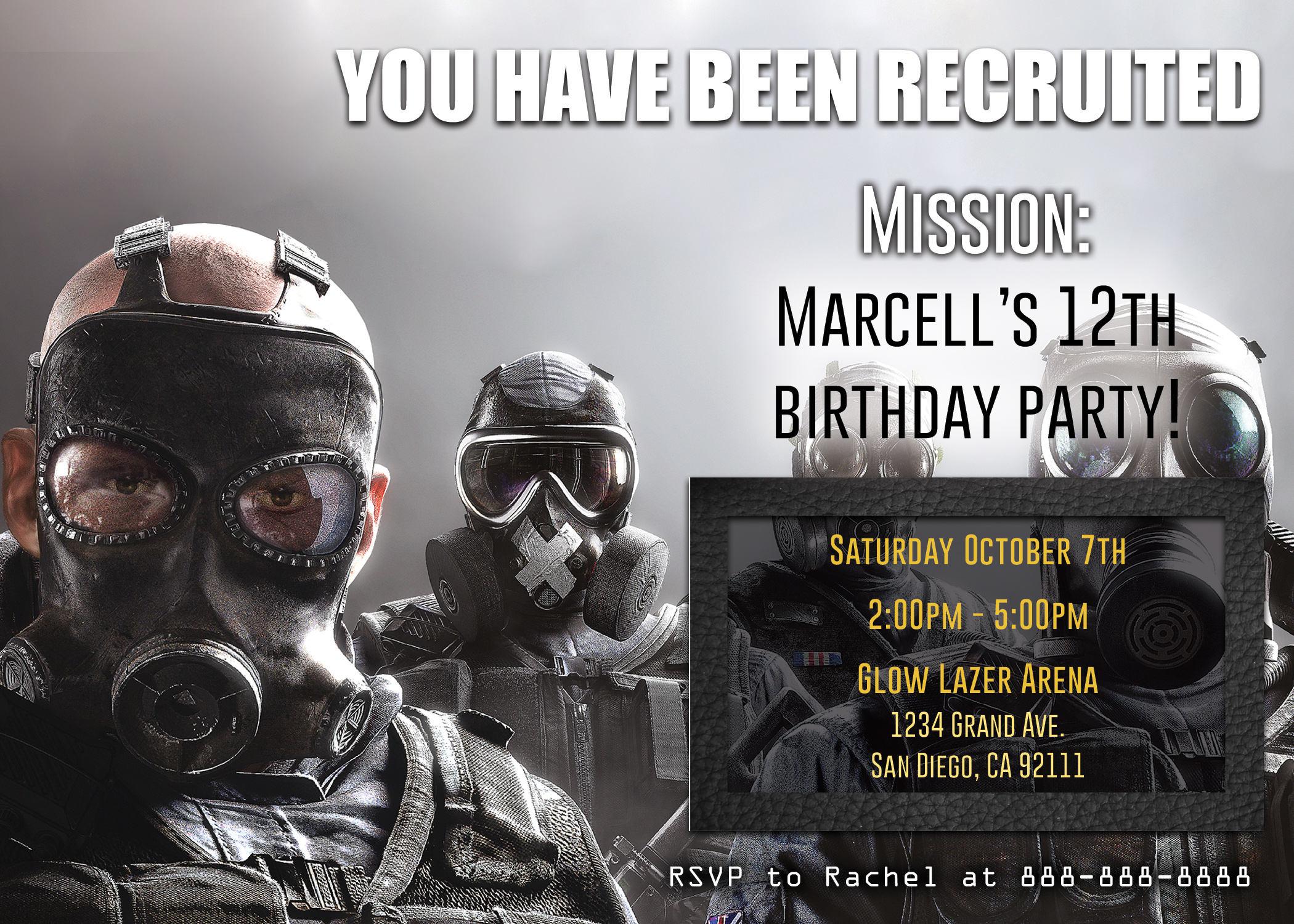 Tom Clancy's Rainbow Six Siege Birthday Invite | Etsy