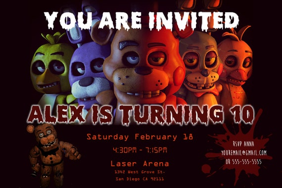 Five Nights At Freddys Birthday Invitation Personalized