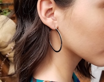 Sterling Silver Earrings Hoops * Medium Silver Earring Hoops * Gift Idea for Her * Timeless Silver Hoops