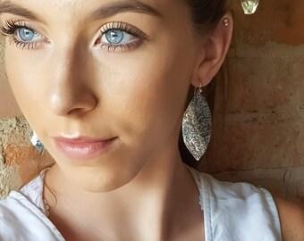 Sterling Silver Long Leaf Earrings