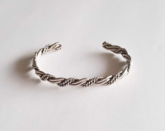 Sterling Silver Torzal Braided Bangle Cuff Bracelet. Adjustable
