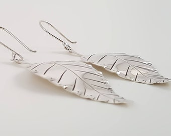 Sterling Silver Signature Leaf Earrings.
