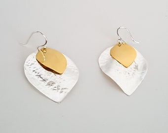 Double Leaf Earring Hooks with Yellow Gold Plated * Anniversary * Birthday * Best Gift For Her