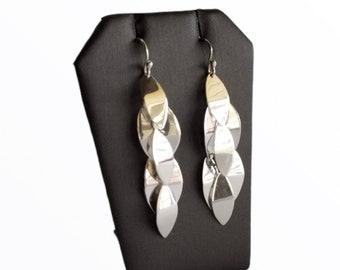 ZR Sterling Silver Leaves Cascade Earrings