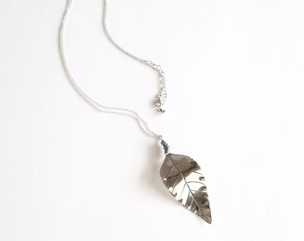 Sterling Silver Long Leaf Necklace Pendant