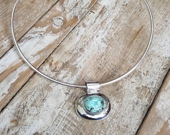 Sterling Silver Turquoise Pendant. Choker or Chain included for limited time