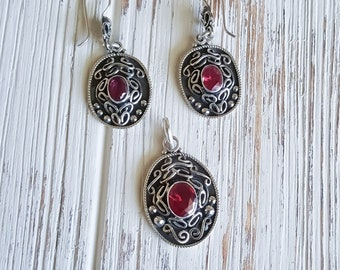 Sterling Silver Jewelry Filigree Set with Cubic Zirconia