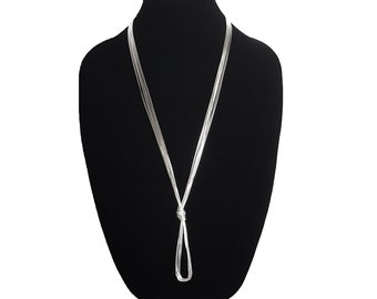 10 Strand Liquid Silver Long Necklace. Wear It In Different ways!
