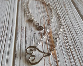 Sterling Silver Love Pendant Necklace