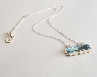 Swarovski Crystal Bar Necklace in Sterling Silver