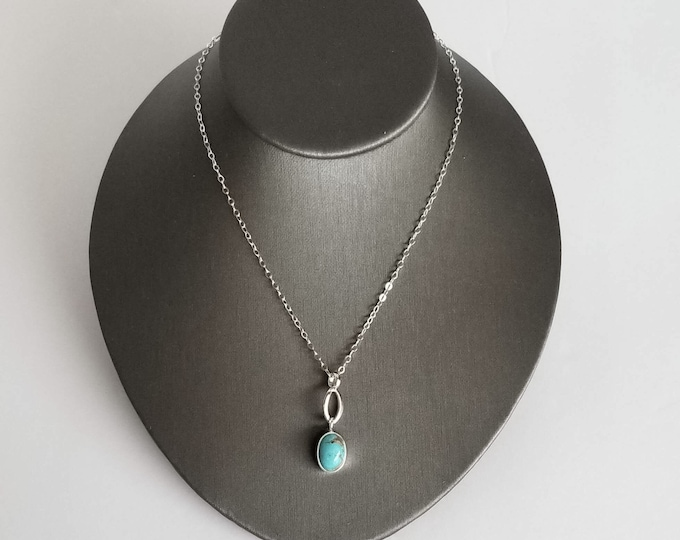 Featured listing image: Turquoise Pendant Necklace in Sterling Silver