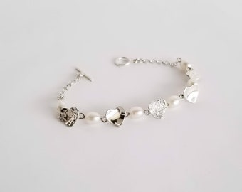 Heart and Pearls Charm Bracelet in Sterling Silver