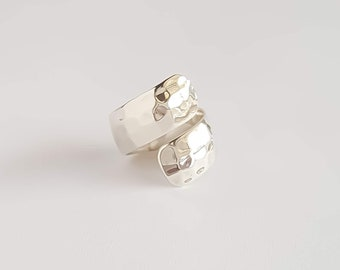 Hammered Wrap Statement Ring in Sterling Silver
