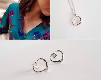 Sterling Silver Heart Set. Earrings and Necklace. Love Jewelry.