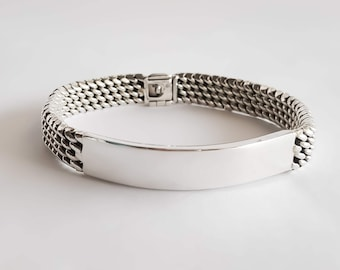 Made to Order Sterling Silver Woven Mens ID Bracelet