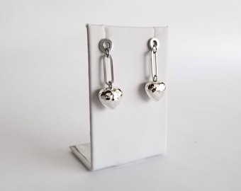 Sterling Silver Hammered Heart Dangling Earrings