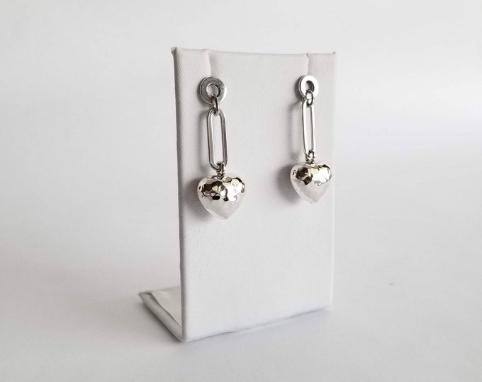 Featured listing image: Sterling Silver Hammered Heart Dangling Earrings