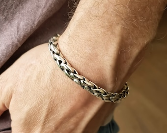 Sterling Silver Wheat Link Mens Bracelet