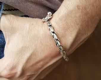 Sterling Silver Scales Mens Bracelet