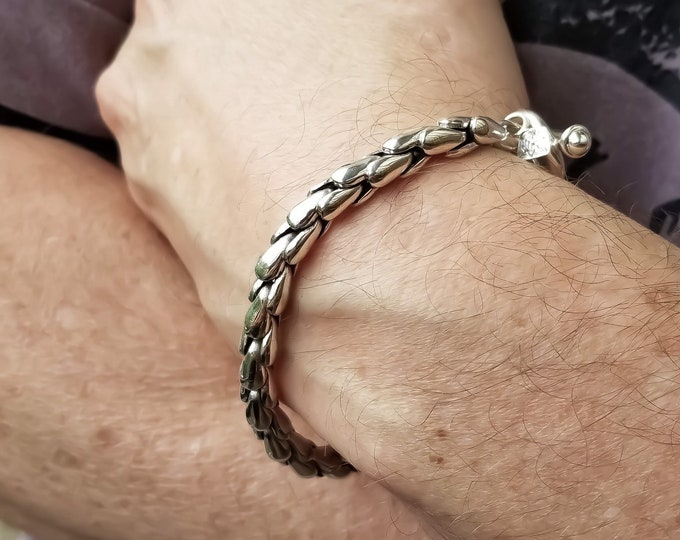 Featured listing image: Sterling Silver Scales Mens Bracelet