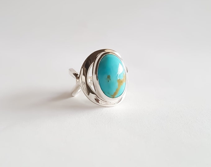 Featured listing image: Made to Order Turquoise Oval Ring in Sterling Silver