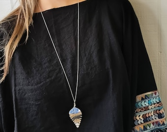 ZR Signature Sterling Silver Long Leaf Necklace