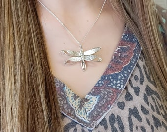 Sterling Silver Full of Life Dragonfly Pendant Necklace