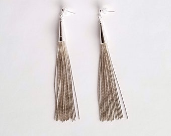 Liquid Silver Long Tassel Earrings