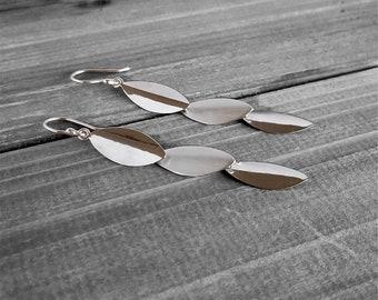 LONG WALKS. Leaf Triplets Dangling Hooks in Sterling Silver