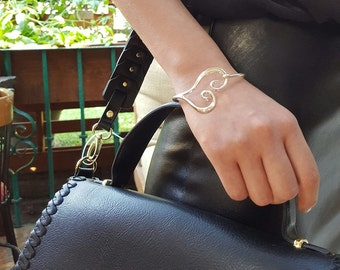 Sterling Silver Heart Hook Bangle Bracelet