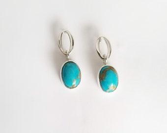 Turquoise Drop Earrings in Sterling Silver Earring Posts
