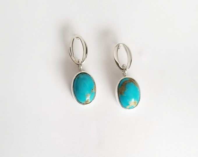 Featured listing image: Turquoise Drop Earrings in Sterling Silver Earring Posts