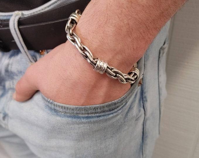 Featured listing image: Sterling Silver Interlinked Mens Bracelet