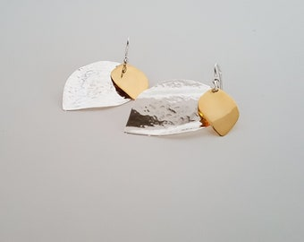 Sterling Silver Double Leaf Earring Hooks with Yellow Gold Plated