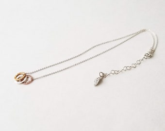 Sterling Silver Trio of Open Circles Necklace