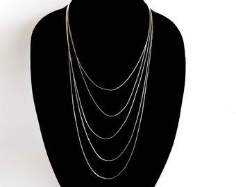 Liquid Silver Long Layered Necklace