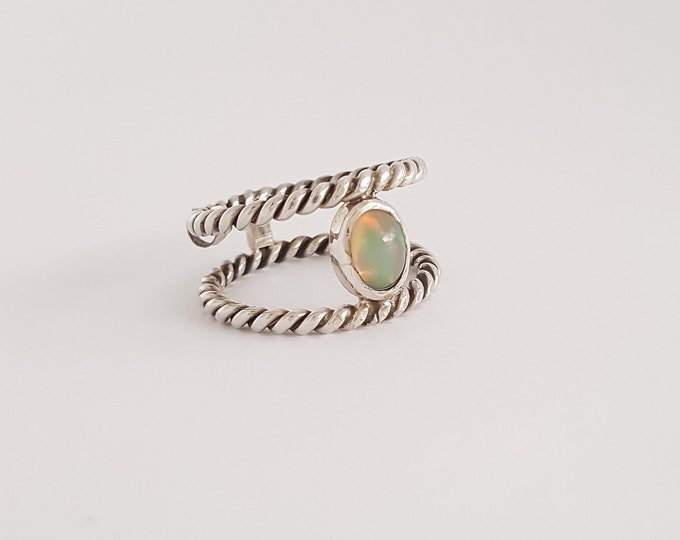 Featured listing image: Opal and Rope Ring in Sterling Silver