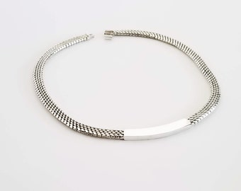 Sterling Silver Woven Chocker Necklace with Plate