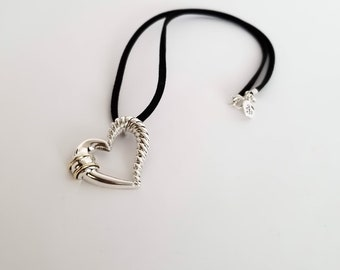 Crossed Lovers Heart Necklace in Sterling Silver and Bronze Accents