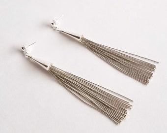 Liquid Silver Long Tassel Earrings