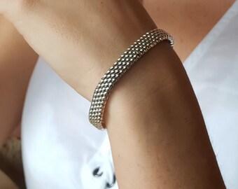 Sterling Silver Woven Mesh Bracelet for Women